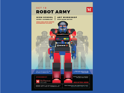 Robot Army Workshop workshop college kansas ks robot mcpherson college mcpherson poster