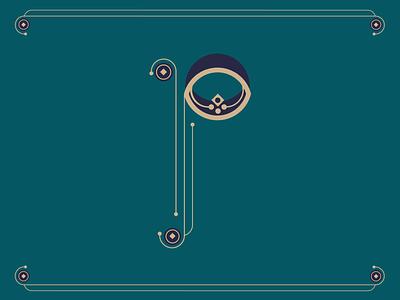 Letter P - Type Set decorative letter type ornate line circle letter p letterforms p letterform letter