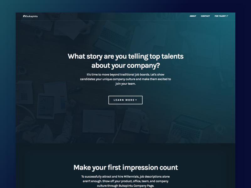 Bukapintu - Company Landing Page typography blue gradient blue minimal simplicity gradient web development web design landing page