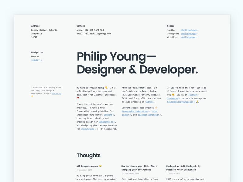 Landing Page - Philip Young serif monospace grid web design web development simplicity minimal typography