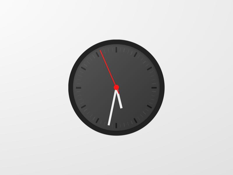 Classic Clock gradient white black red moving app design illustration clock