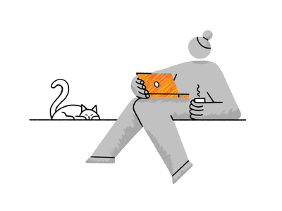Self-Isolation 3/4 brushes character texture internet cat computer ipad procreate 2020 isolation print character design illustration