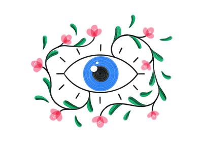 👁🌿🌸 watching flowers plants eye procreate brush texture illustration