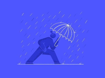 End of Summer autumn person character umbrella rain texture brushes procreate character design illustration