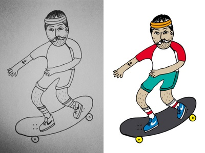 Skater guy illustrator color drawing skater graphics design vector illustration