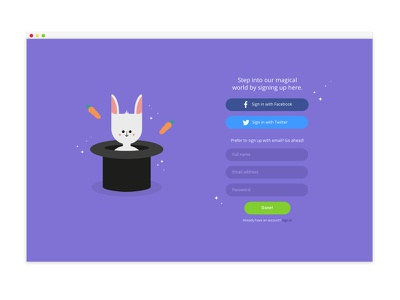 Sign up page dailyui page form up sign illustration design web ui