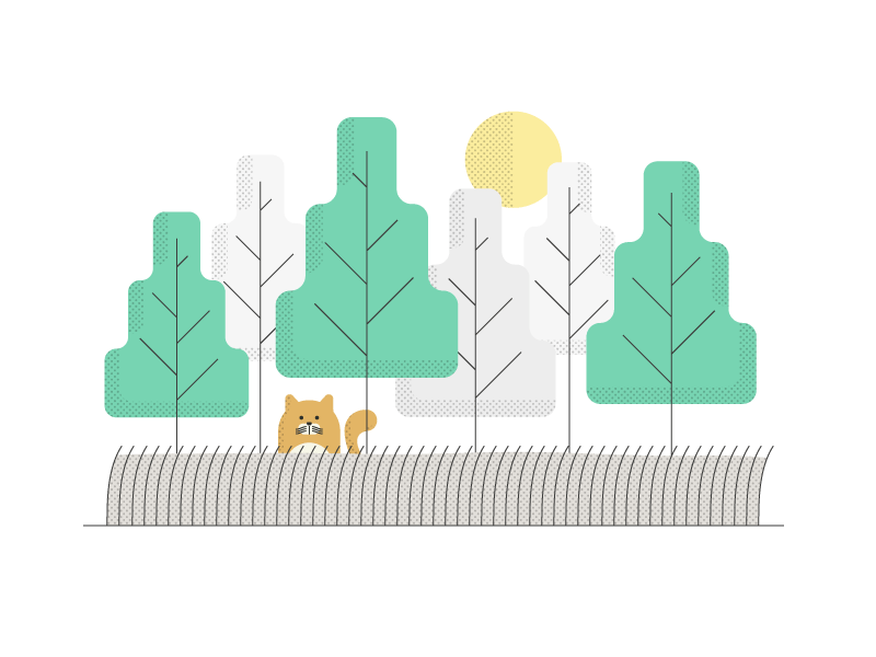 🐱 + 🌲 trees texture cat character design vector illustration