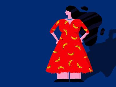 Woman in Banana Dress pattern banana design vector illustration