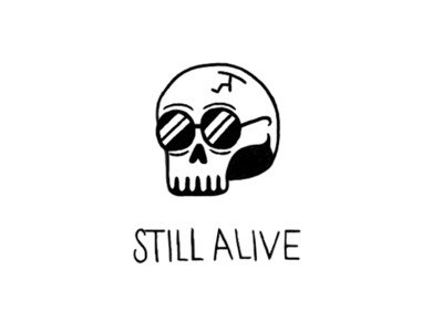Still alive? sunglasses character alive skull illustration