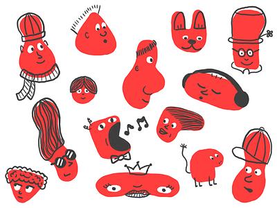 More faces color line art face design character illustration