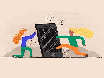 The Digital Escape digital phone smartphone texture character illustration