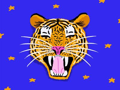 Tiger illustration agency animal stars texture brushes tiger illustration