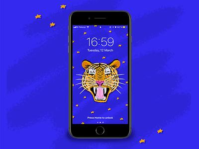 Tiger - Phone wallpaper 🐯 stars animal iphone phone wallpaper texture character tiger illustration