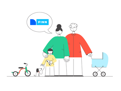 FINN - illustration shopping secondhand finn norway family character design characters illustration