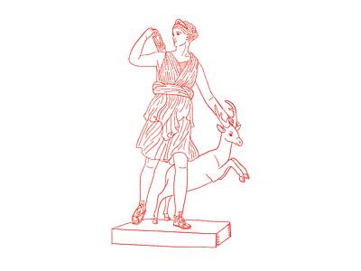 MMXIX part I illustration lineart deer animal fearless woman character design greek character goddesses