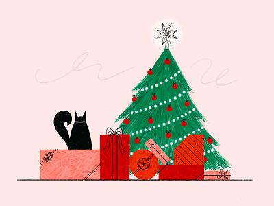 Merry Christmas 🎁🐱🎄 procreate texture magical gifts holiday christmas gift star christmas tree christmas cat illustration