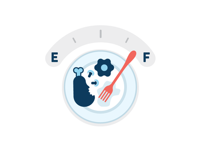Full food health gas gauge iconography icons