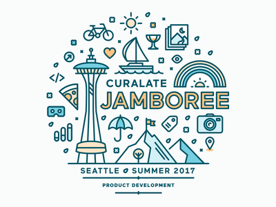 Curalate Jamboree \\ Seattle iconography logo seattle retreat offsite jamboree