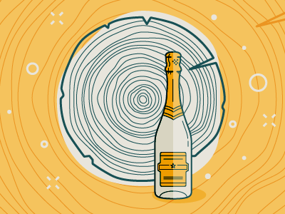 Growth Rings: A Reflection Through Transition bubbles tree growth rings champagne illustration