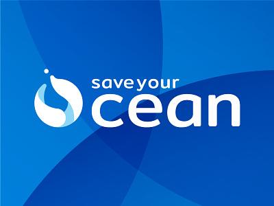 Save Your Ocean symbol simple round corner mark identity icon graphic designer freelance design brand logo
