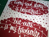 """""""Beautiful Love Story"""" Papercut"""