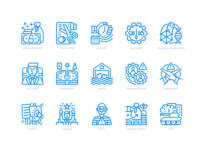 Business risks icons set business icon icondesign icons icon business risk business risks