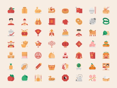 Chinese New Year Icons Set icon design icon chinese new year icon chinese food chinese culture chinese icon chinese china chinese new year lunar new year