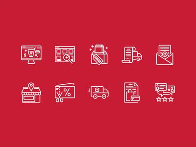 E-commerce website outline icons set
