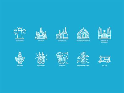 Bangkok symbol and landmark outline icons