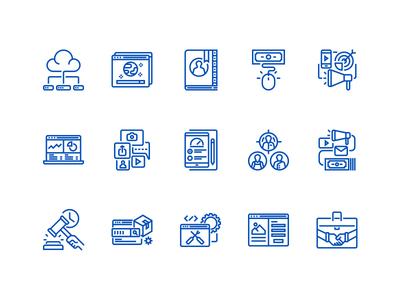 Digital marketing outline icons set