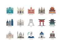 Asian countries and cities landmarks icons