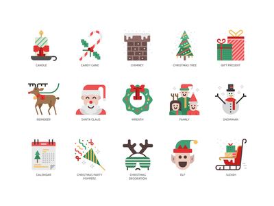 Christmas elements christmas xmas icon design