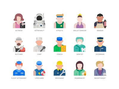 Jobs and occupations icons set jobs and occupations illustration icon icon design
