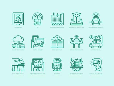 Technologies disruption icons set