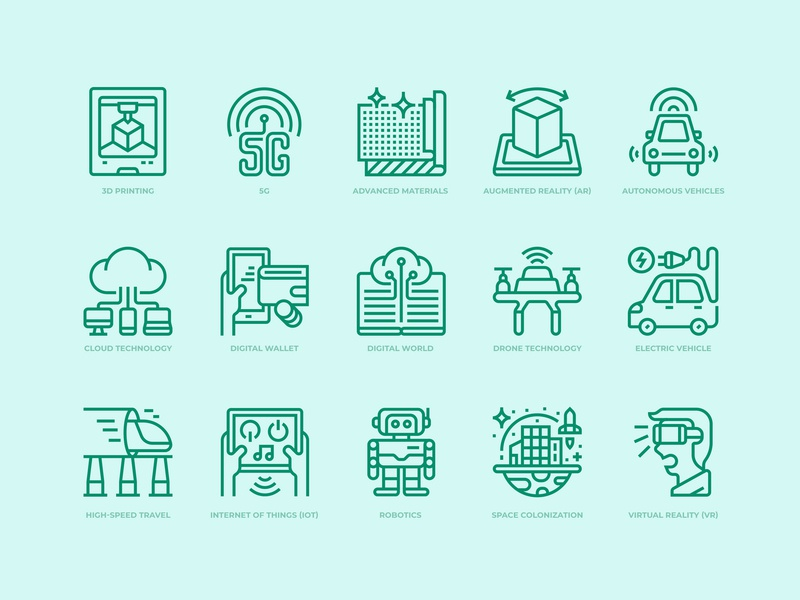 Technologies disruption icons set technology icons illustration icon outline icon icon design