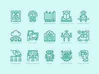 Technologies disruption icons set