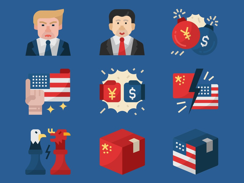 China and US trade war icons set xi jinping donald trump united states china usa china and us trade war trade war icon icon design