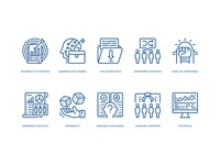 Statistical analysis icons set