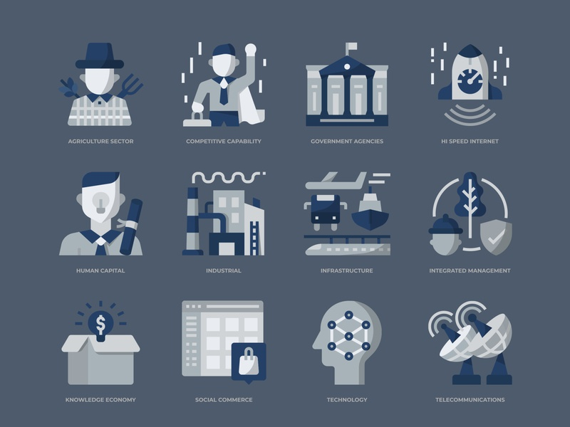 Digital Economy icons set icon design icon digital economy