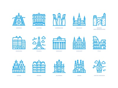 European Cities Icons landmarks european europe icon design icon