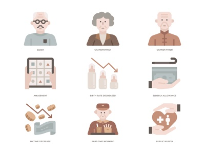Ageing Society Icons Set population ageing population ageing ageing sociey old elderly icon desing icon