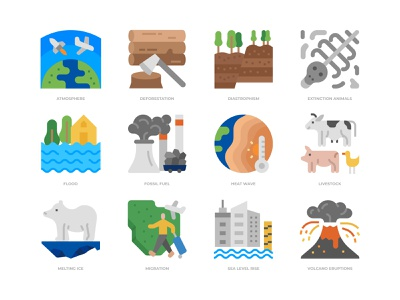 Climate change icons set enviroment ecology global warming icon design icon climate change