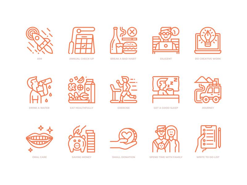 Good life icons life style icon design icon morning routine good life