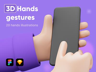 3D handy hands web ux design ux ui design ui product design presentation 3d illustration 3d icon 3d design gestures hands set c4d cinema4d blender gesture hand