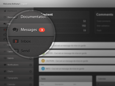 UI Dashboard dashboard ui app nav icons admin css3 html5 user interface ux