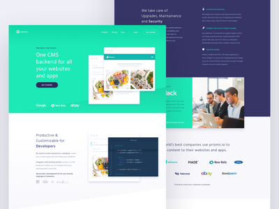 Prismic.io new website homepage design home page homepage colorful ux ui illustration clean color headless api-based cms website animation design