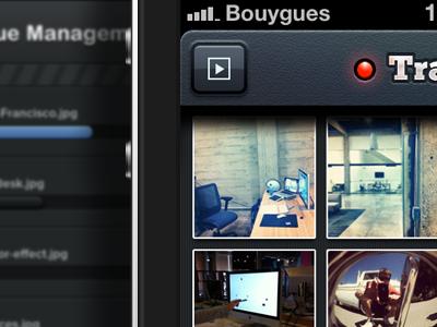 Transfr iPhone app ui iphone app application interface ios button texture nav bar