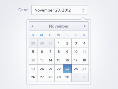 Date Picker date date picker ui app application grey bleu