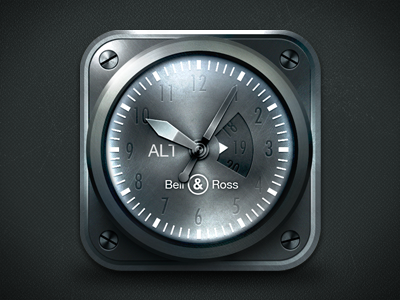 iOS Watch icon icon ios iphone watch app clock rendering iron metal textures