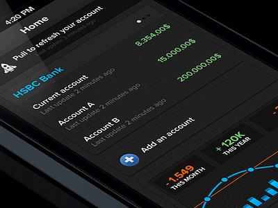 Banking App app interface ui iphone ios design stat data statistics graph